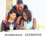 happy african friends chatting... | Shutterstock . vector #222469243