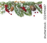 christmas decoration with snow. ... | Shutterstock . vector #222490687