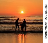 silhouette of tourist at sunset ... | Shutterstock . vector #222508603