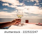vacation time.glass of wine in... | Shutterstock . vector #222522247