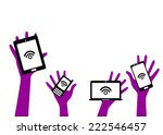 mobile device set in hand icon  ... | Shutterstock .eps vector #222546457