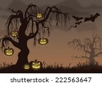 halloween scene with bats and...