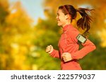 woman runner running in fall... | Shutterstock . vector #222579037