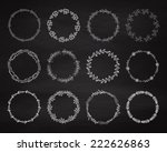 set of floral wreath on the... | Shutterstock .eps vector #222626863