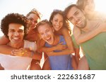 group of young friends on... | Shutterstock . vector #222631687