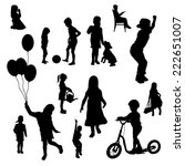 vector silhouettes of children... | Shutterstock .eps vector #222651007