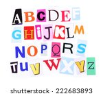 colorful newspaper alphabet... | Shutterstock . vector #222683893