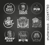 set of chalk beer drawings.... | Shutterstock .eps vector #222697783