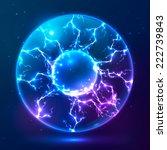blue shining vector plasma ball | Shutterstock .eps vector #222739843