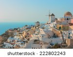 view on oia in santorini greece | Shutterstock . vector #222802243