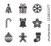 black and white merry christmas ... | Shutterstock .eps vector #222821377