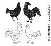 hen and rooster. white... | Shutterstock .eps vector #222831997