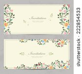cute floral invitation cards... | Shutterstock .eps vector #222854533