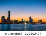 the sun sets behind the... | Shutterstock . vector #222862477