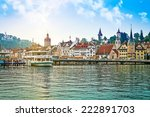harbor and buildings in city... | Shutterstock . vector #222891703