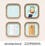 set of flat wooden icons for...