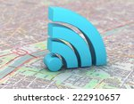 blue wifi symbol over a map... | Shutterstock . vector #222910657