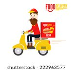 food delivery man is riding... | Shutterstock .eps vector #222963577