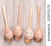 fresh chicken eggs in wooden... | Shutterstock . vector #222971173