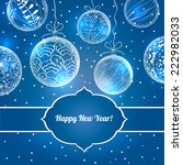 christmas  blue card with balls.... | Shutterstock .eps vector #222982033