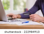 man making a purchase online...   Shutterstock . vector #222984913