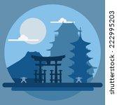 flat design landscape of japan... | Shutterstock .eps vector #222995203