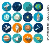 Flat Design Icons Of Astronomy...