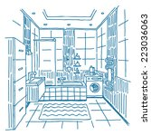bathroom interior vector... | Shutterstock .eps vector #223036063