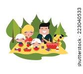 family picnic outdoors | Shutterstock .eps vector #223040533