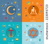 religions icon flat set of... | Shutterstock .eps vector #223093723