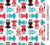 owl pattern background   vector ... | Shutterstock .eps vector #223094617