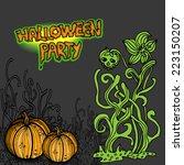 halloween party. vector... | Shutterstock .eps vector #223150207