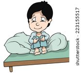 boy sitting in bed   cartoon... | Shutterstock .eps vector #223155517