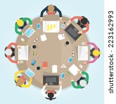 business round table. flat... | Shutterstock .eps vector #223162993
