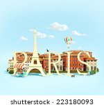 word paris on the square with... | Shutterstock . vector #223180093