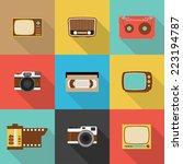 retro icon  flat design vector... | Shutterstock .eps vector #223194787
