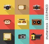 retro icon  flat design vector... | Shutterstock .eps vector #223194823
