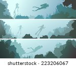 set horizontal banners of scuba ... | Shutterstock .eps vector #223206067