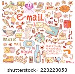 e mail doodle set. hand drawn... | Shutterstock .eps vector #223223053