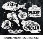 eat symbol in retro vintage in... | Shutterstock .eps vector #223253533