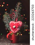 handmade knitted heart  ... | Shutterstock . vector #223263703