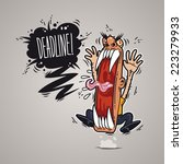 angry boss screaming deadline... | Shutterstock .eps vector #223279933