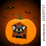 halloween  black cat  bats ... | Shutterstock .eps vector #223297717