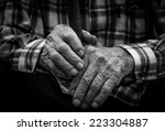 Hands Of The Old Man. Black An...