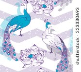 seamless pattern with peacock... | Shutterstock .eps vector #223330693