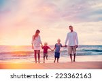 happy young family of four on... | Shutterstock . vector #223362163