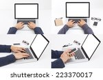 set of hands typing on laptop... | Shutterstock . vector #223370017