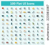 set of modern icons in flat... | Shutterstock .eps vector #223381087