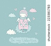 valentines day fairy card with... | Shutterstock .eps vector #223381783