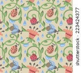 seamless pattern with beetles... | Shutterstock .eps vector #223424377